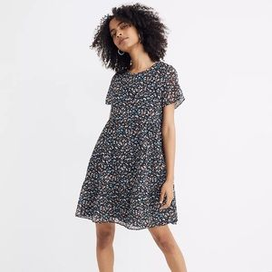 MADEWELL Short Sleeve Tiered Mini Dress in Spring Prairie Floral